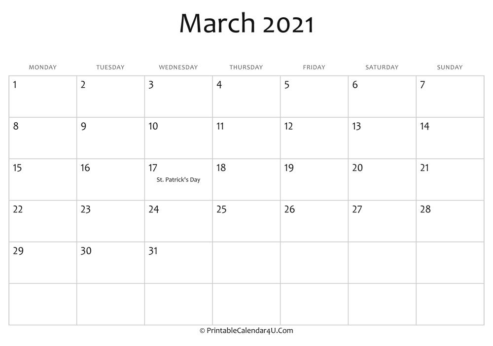 March 2021 Editable Calendar with Holidays