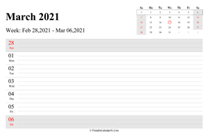 march 2021 weekly calendar with us holidays landscape layout