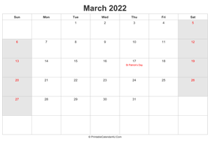 march 2022 calendar with uk bank holidays highlighted landscape layout