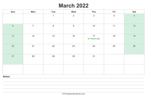 march 2022 calendar with us holidays and notes landscape layout