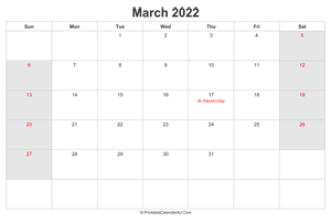 march 2022 calendar with us holidays highlighted landscape layout