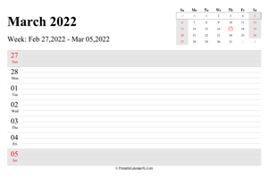 march 2022 weekly calendar with us holidays landscape layout
