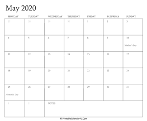 may 2020 calendar printable with holidays