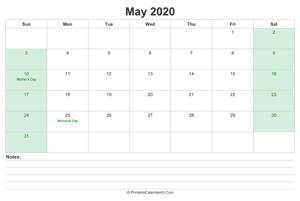 may 2020 calendar with us holidays and notes landscape layout