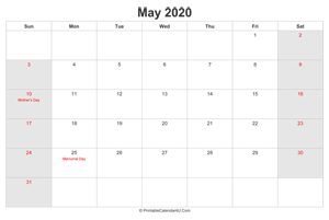 may 2020 calendar with us holidays highlighted landscape layout