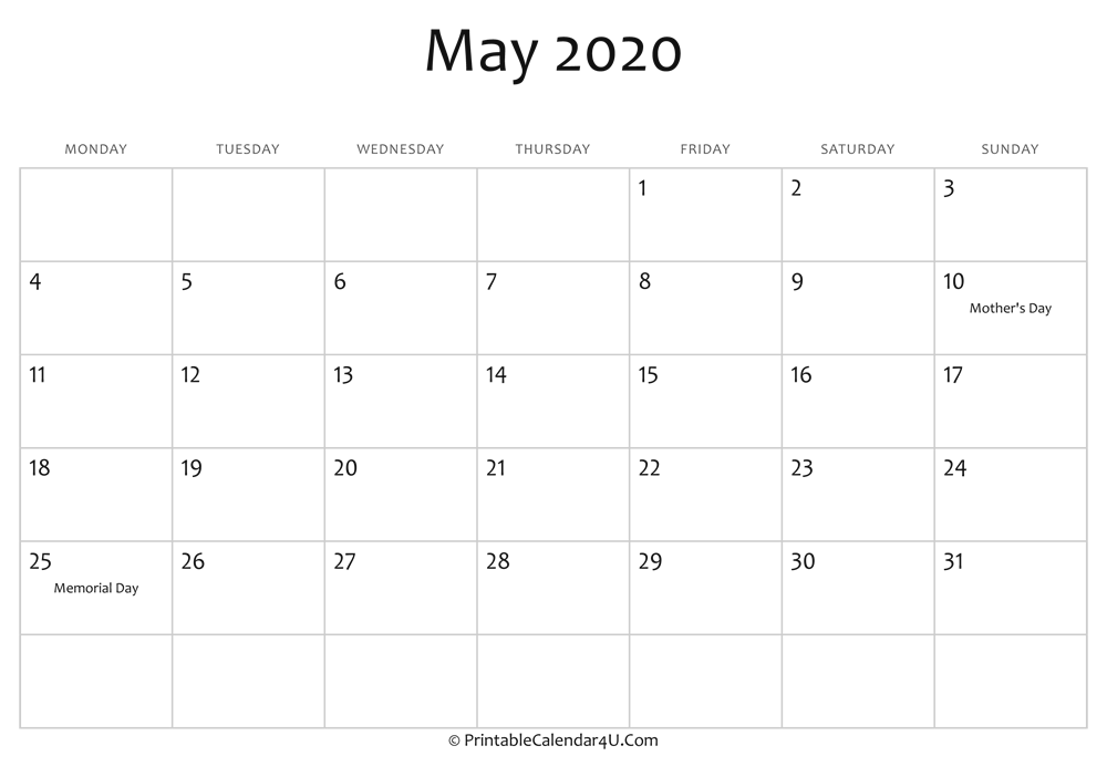 May Printable Calendar 2020.May 2020 Editable Calendar With Holidays