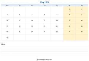 may 2021 calendar editable with notes horizontal layout