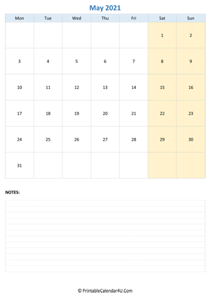 may 2021 calendar editable with notes vertical layout