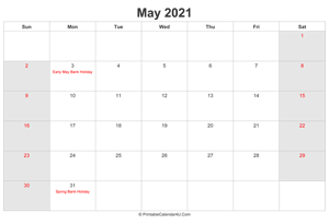 may 2021 calendar with uk bank holidays highlighted landscape layout