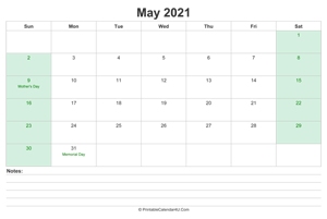may 2021 calendar with us holidays and notes landscape layout