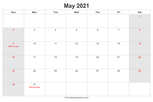 may 2021 calendar with us holidays highlighted landscape layout