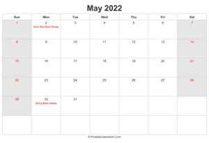 may 2022 calendar with uk bank holidays highlighted landscape layout