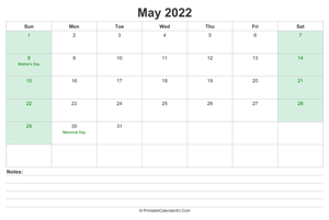 may 2022 calendar with us holidays and notes landscape layout