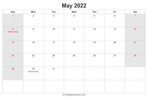 may 2022 calendar with us holidays highlighted landscape layout