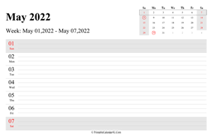 may 2022 weekly calendar with us holidays landscape layout