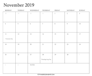 graphic regarding Printable Calendar Nov identify November 2019 Editable Calendar with Holiday seasons