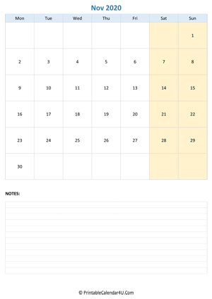 november 2020 calendar editable with notes vertical layout