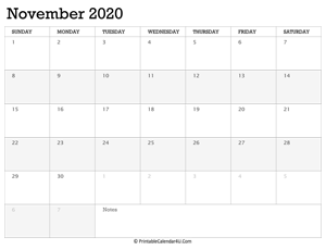 november 2020 calendar printable week starts on sunday