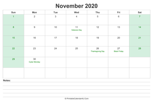 november 2020 calendar with us holidays and notes landscape layout
