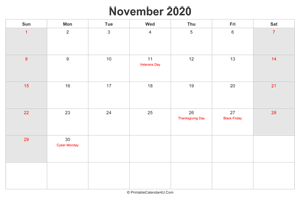 november 2020 calendar with us holidays highlighted landscape layout