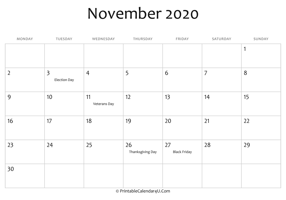 november 2020 editable calendar with holidays