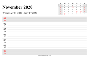 november 2020 weekly calendar with us holidays landscape layout