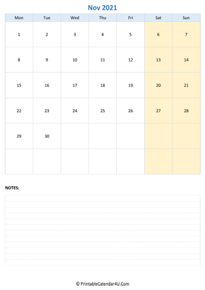 november 2021 calendar editable with notes vertical layout