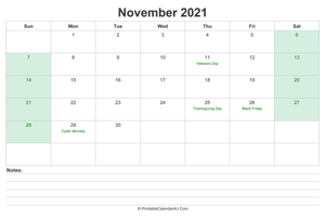 november 2021 calendar with us holidays and notes landscape layout