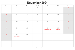 november 2021 calendar with us holidays highlighted landscape layout