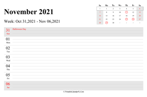 november 2021 weekly calendar with us holidays landscape layout
