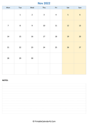 november 2022 calendar editable with notes vertical layout