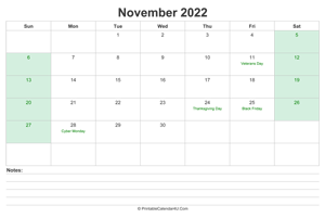 november 2022 calendar with us holidays and notes landscape layout