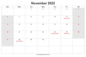 november 2022 calendar with us holidays highlighted landscape layout