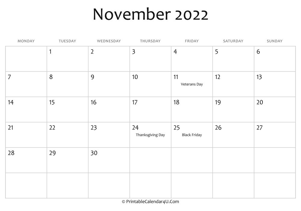 Calendar Editable 2022.November 2022 Editable Calendar With Holidays