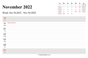 november 2022 weekly calendar with us holidays landscape layout