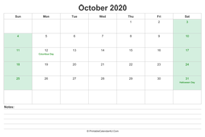 october 2020 calendar with us holidays and notes landscape layout