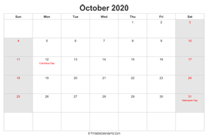 october 2020 calendar with us holidays highlighted landscape layout