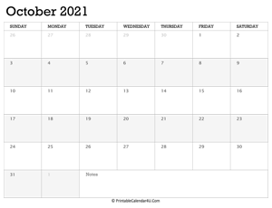 october 2021 calendar printable week starts on sunday