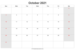 october 2021 calendar with uk bank holidays highlighted landscape layout
