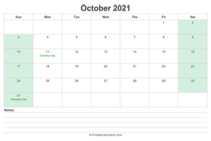 october 2021 calendar with us holidays and notes landscape layout