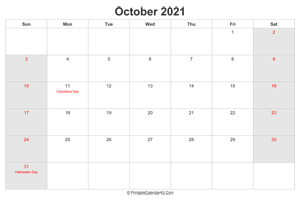 october 2021 calendar with us holidays highlighted landscape layout