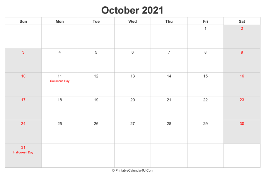 October 2021 Calendar with US Holidays highlighted ...