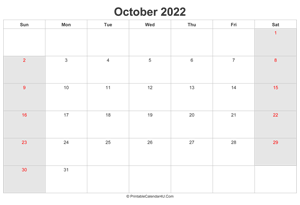 october 2022 calendar with uk bank holidays highlighted landscape layout