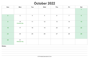 october 2022 calendar with us holidays and notes landscape layout