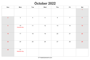 october 2022 calendar with us holidays highlighted landscape layout