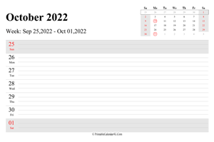 october 2022 weekly calendar with us holidays landscape layout