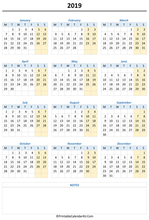 printable 2019 calendar with notes