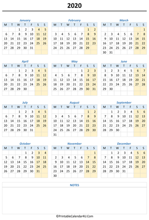 printable 2020 calendar with notes