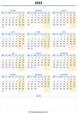 printable 2022 calendar with notes