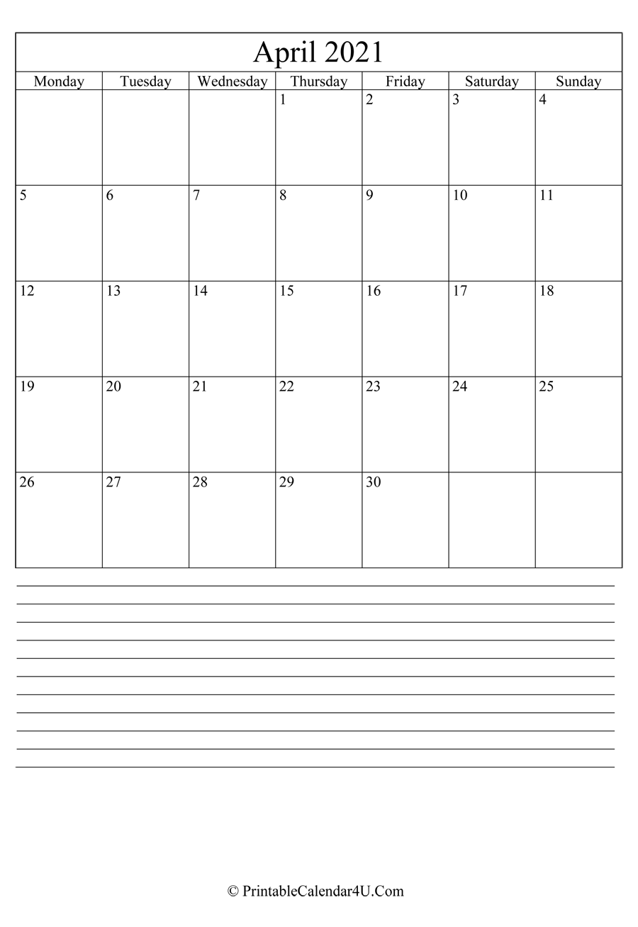 printable april calendar 2021 with notes in portrait layout